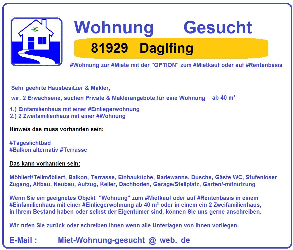 #81929 #Daglfing #Wohnung #Gesucht mit der #Option zum #Mietkauf oder auf #Rentenbasis zum 01-08-2018